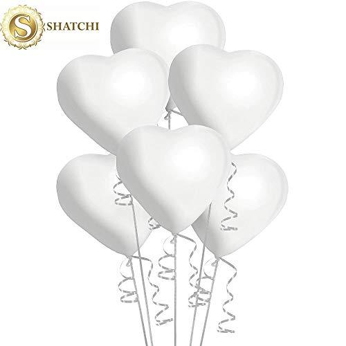 Shatchi 100 stks Grote Witte Harten Gevormd Latex Ballonnen Valentijnsdag Verjaardag Bruiloft Vrouw Vriendin Verjaardag Romantische Decoraties Vieringen