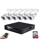 Sistema de vigilancia de Seguridad CCTV Tonton HD 1080P 2TB HDD, 5-en-1 DVR 8CH con (6) Cámara de Bala Interior para Exteriores Impermeable de 2.0MP, Visión Nocturna, Detección de rostros.