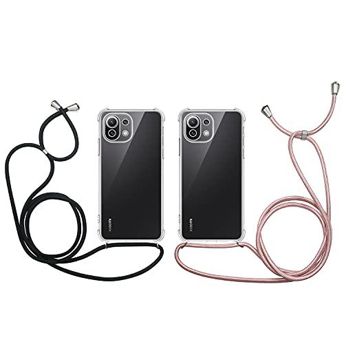 2 x Funda con Cuerda para Xiaomi Mi 11 Lite, Carcasa Transparente TPU Suave...