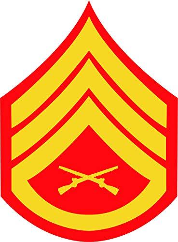 U.S. Marine Corps Gold on Red Chevron Sticker (Staff Sergeant (SSgt))