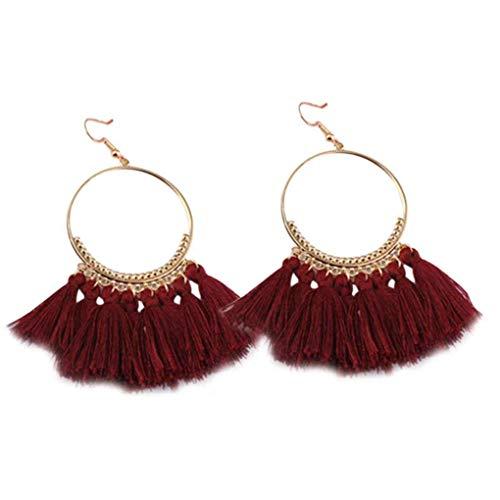 1 paio donne etnici boemia goccia ciondola lunga corda lunga orecchini di frange di corda ragazza nappa orecchini signora moda bohe gioielli