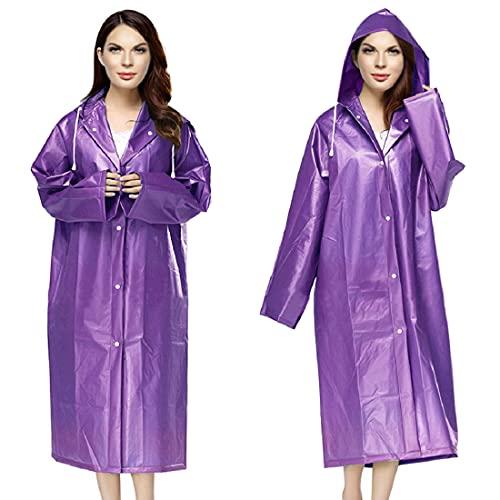 Idefair Portable EVA Rain Coat 2 Pack,Reusable Lightweight Waterproof Rain Ponchos for Men,Women and Kids,2 Pack (Adult, Purple)