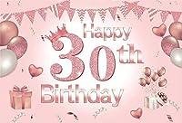 パーティーのための新しいピンク30の背景7x5ft幸せな30歳の女の子の誕生日の写真の背景クラウンケーキテーブルの装飾とピンクの輝く30女性の肖像画写真撮影の小道具ビニールの壁紙