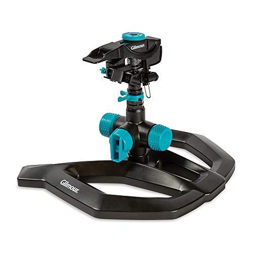 of gilmour sprinklers Gilmour 811933-1001 Circular Sprinkler-Adjustable (5,800 sq. ft.), Medium Duty Base, Black/Aqua