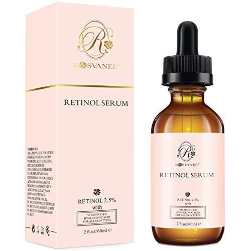 ROSVANEE Serum Retinol para Cara 60ml - Alta Dosis con 2.5% Retinol, ácido hialurónico, Vitamina C y E, Suero Facial Antiedad para Reparación Piel, Cicatriz, Mancha Oscura, Línea Fina y Arrugas ...