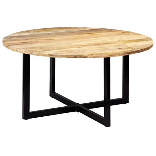 UnfadeMemory Esstisch Esszimmertisch Küchentisch Mango-Massivholz und Eisenbeine, Rund Tischplatte Holztisch Esszimmer Massivholztisch (150 x 73 cm)