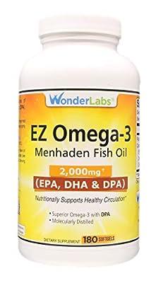 Top Rated Atlantic Menhaden Fish Oil Omega-3 2000 mg, Burpless, Made in The USA, Perfect Balance of EPA+ DHA + DPA 180 Softgels
