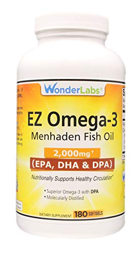 Top Rated Atlantic Menhaden Fish Oil Omega-3 2000 mg, Burpless, Made in The USA, Perfect Balance of EPA+ DHA + DPA 180 Softgels