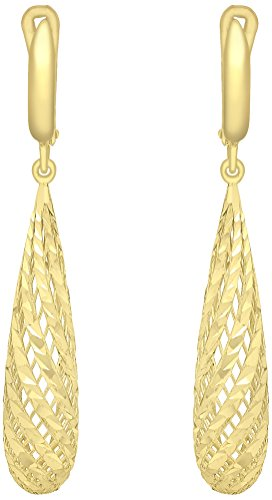 Carissima Gold 9 ct Yellow Gold Diamond Cut Mesh Long Teardrop Earrings