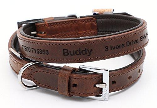 CustomDesign.Shop Feines personalisiertes gepolstertes Lederhalsband für Hund | Schaffen Sie Ihr einzigartiges Tierkennzeichen | Lasergravur