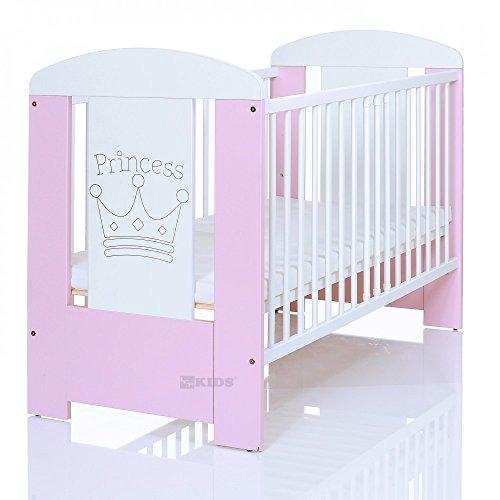 Kinderbett 120x60 cm weiß-rosa mit 3-fach Höhenverstellbarer Komfort Matratze und 3 Schlupfsprossen