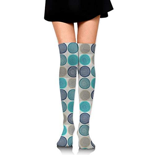 RGFDF Teal Hay Balls Frauen über dem Knie Hohe Socken Nette Mode Gemütliche Oberschenkel Hohe Socken