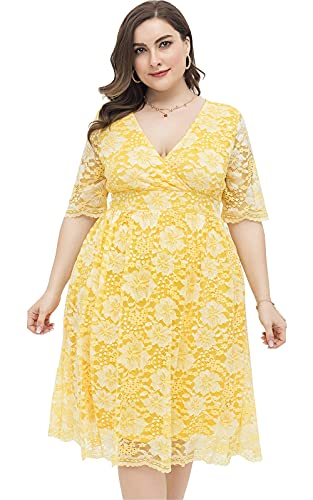 Women Plus Size Short Sleeve Wedding Guest Dress Floral Lace Homecoming Midi Wrap Fall Bodycon Cocktail Party Boho Halloween Yellow, 21578, 1XL