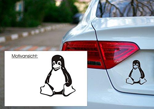 blattwerk-design KFZ Aufkleber - Linux Tux - Pinguin - Open Source Maskottchen- Autoaufkleber (140 mm x 100 mm, Schwarz)