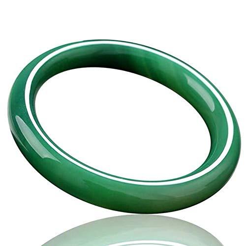 Springisso Pulsera De Jade Natural, Pulsera De Alta Hielo Verde De La Calcedonia Ronda De La Vendimia del Verde Esmeralda De La Piedra del Jade Ágata Energía Brazaletes del Regalo