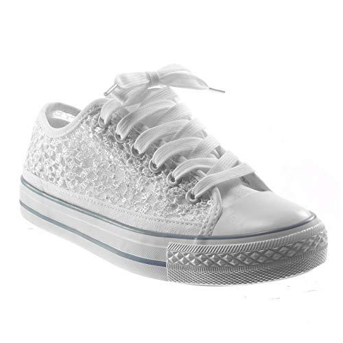 Angkorly - Damen Schuhe Sneaker - Spitze - Glitz Flache Ferse 2 cm - Weiß BL130 T 36