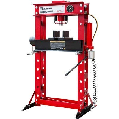 Strongway 50-Ton Pneumatic Shop Press with Gauge and Winch