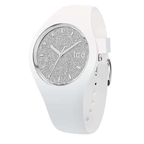 Ice-Watch - ICE glitter White Silver - Women's wristwatch with silicon strap - 001351 (Medium)