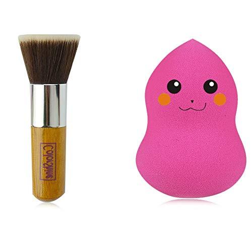 Poignée en bambou tête plate brosse fondation brosse poudre libre poudre blush pinceau bb maquillage brosse