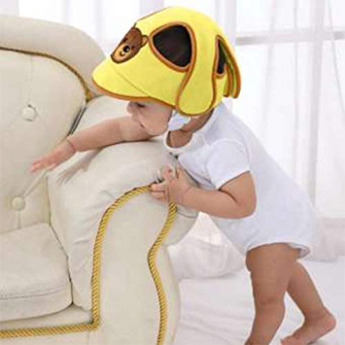 Biaba Adjustable Baby Safety Helmet Anti-Collision Infant Head Protector Breathable Headguard - Yellow (Set of 1)