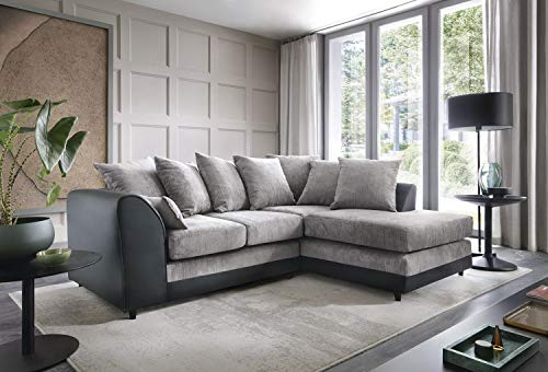 Abakus Direct   PORTO Byron Corner Group Sofa Black and Charcoal Right or Left (Right Hand Facing)