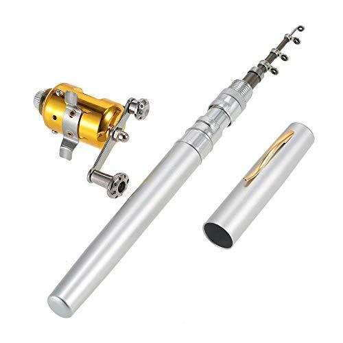 zswell Mini Portable Pocket Fish Rod Pen Aluminum Alloy Fishing Rod Pole Reel Combos (Silver)