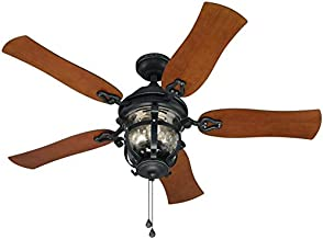Harbor Breeze Lake Placido 52-in Matte Black LED Indoor/Outdoor Commercial/Residential Ceiling Fan with Light Kit Included (5-Blade)