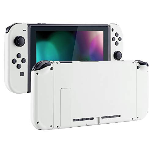 eXtremeRate Soft Touch Grip Back Plate for Nintendo Switch Console, NS Joycon Handheld Controller Housing with Full Set Buttons, DIY Replacement Shell for Nintendo Switch - White