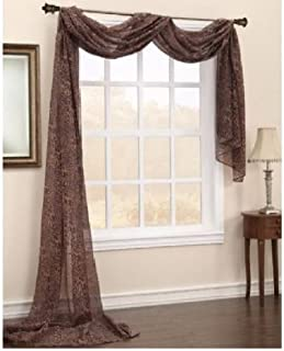 Gorgeous Home 1 PC PRINTED LEOPARD BROWN SCARF VALANCE SOFT SHEER VOILE WINDOW PANEL CURTAIN 216