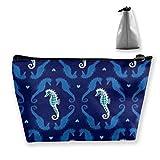 The Deep Dapper Seahorses Cosmetic Makeup Bag/Pouch/Clutch Travel Case Organizer Storage Bag
