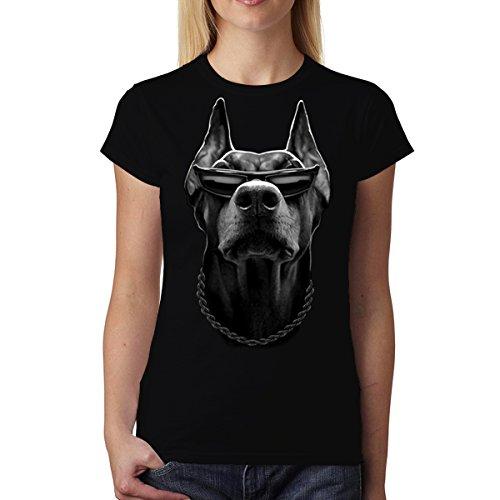 Doberman Perro Negro Animales Mujer Camiseta Negro 2XL