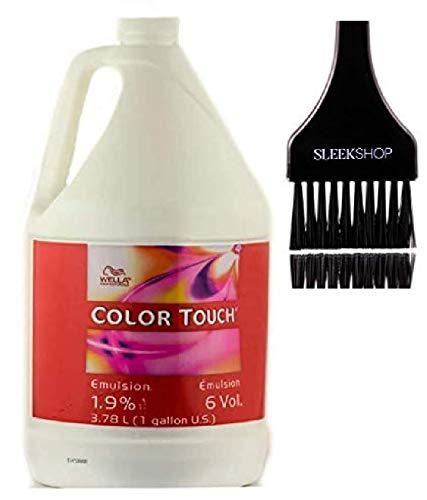 Wella COLOR TOUCH Intensive Emulsion Creme Developer (w/Sleek Tint Brush) Cream Peroxide for ColorTouch Haircolor Hair Color Dye (6 Volume / 1.9% - 3.78 LITER / 1 GALLON)