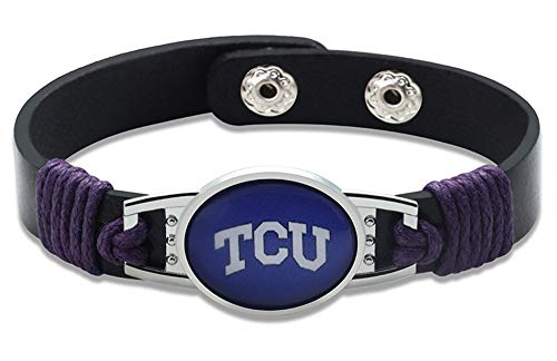 Texas Christian University TCU Horned Frogs Leather Bracelet with Snap Closure 7' to 9'