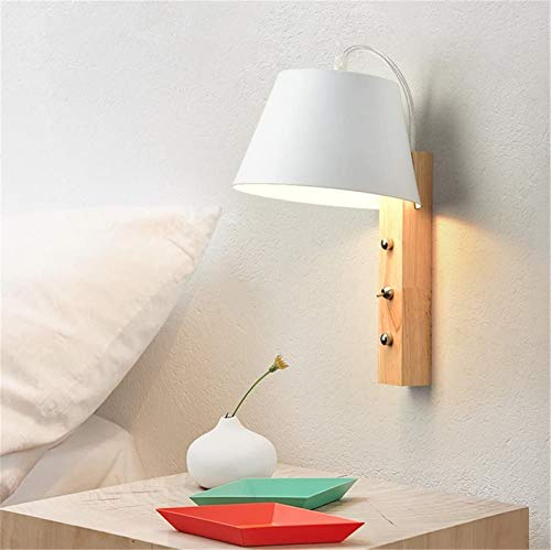 Lámparas de pared industriales, Luz de pared Moderna Minimalista Pintura de hornear Metal Shade Lámpara de pared de madera E27 Socket para sala de estar Dormitorio Corredor Iluminación de pared (blanc