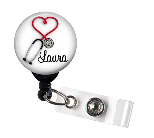 Retractable Badge Reel - Red Heart Stethoscope - Personalized Name - Badge Holder/Nurse Gift/Medical/Stocking Stuffer/Cardiology