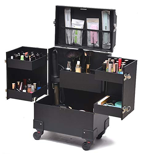 Large Makeup Beauty Case,Makeup Trolley on Wheels Lockable Beauty Cosmetic Box Trolley Cosmetic Case luggage Profession Suitcase for makeup,Black