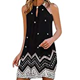 baskuwish Summer Floral Print Dresses for Women,Swing Sundresses for Women Casual Dress Light Blue