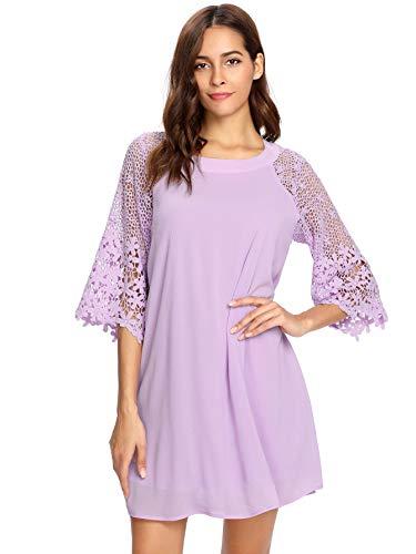 MakeMeChic Women's Casual Crewneck Half Sleeve Summer Chiffon Tunic Dress Purple M