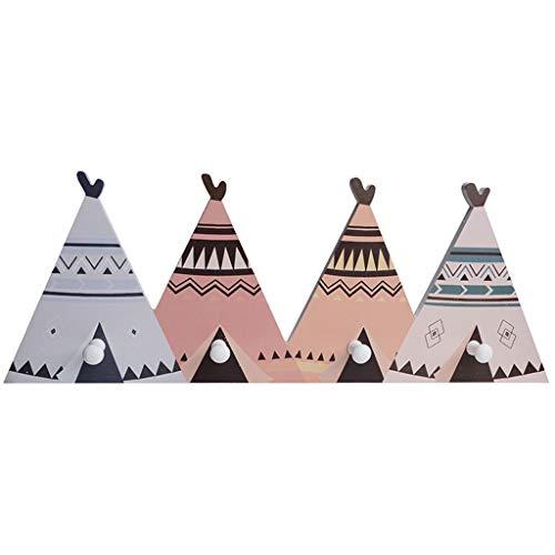 Jiji Coat Hooks Nordic Style Houten Kids Coat Rack Geometrische Mountain Art Plank Voor Kleding 4 Haak Kids Room Decor Idee Cadeau kapstok