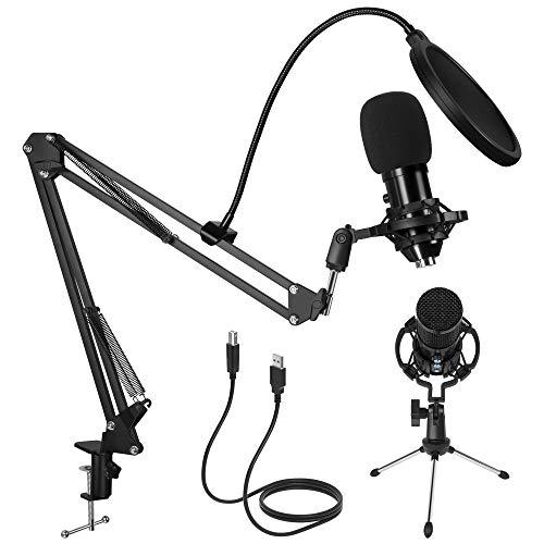 Kalawen USB Mikrofon PC Kondensator Mikrofone Cardioid Podcast Mikrofon Kit mit Mikrofon Arm Mikrofonständer Stoßdämpferhalterung Aufnahme Microphone für Studio, Broadcast, YouTube, Video