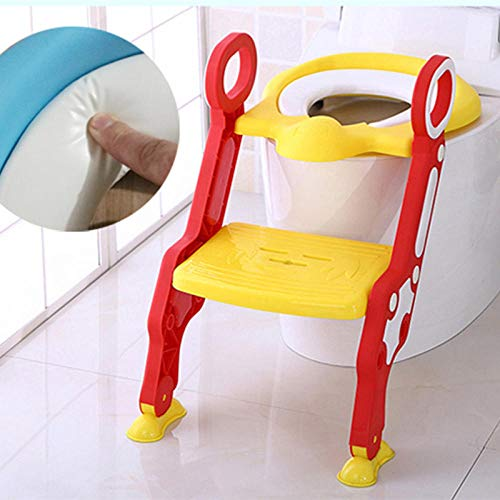 Escalera para inodoro Orinal para niños Silla para niños Orinal para bebé Pan de entrenamiento Asiento para inodoro Orinal portátil para niños Pot-Yellow
