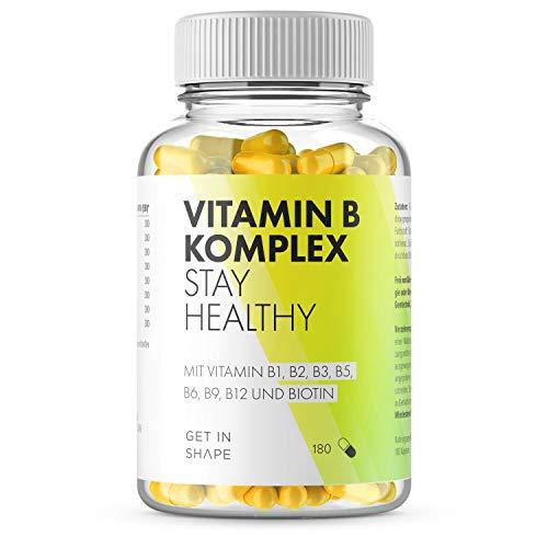 Vitamin B Komplex - 180 Vegane Kapseln mit Vitamin B12, Biotin, Folsäure, Vitamin B6 etc, Optimale Dosierung der B Vitamine für dein Wohlbefinden, In Deutschland hergestellt, von Get in Shape