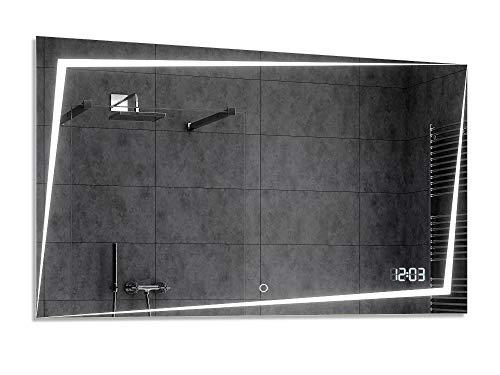 Alasta® Badkamerspiegel met Verlichting - 50x150 cm - Model Berlín - Spiegel met Aanraaklichtschakelaar en LED Klok