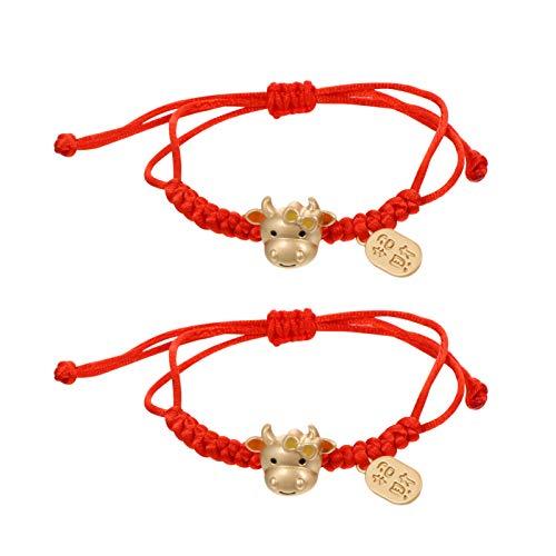 Amosfun 2 pulseras de cuentas de buey del zodiaco chino, hechas a mano, con cadena roja, para regalo de fiesta del zodiaco chino