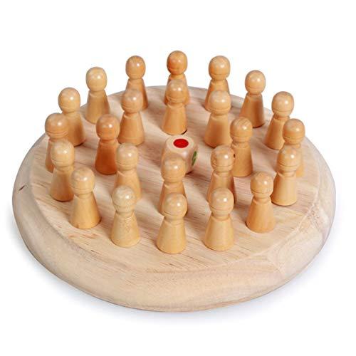 Banbie Pädagogisches hölzernes Gedächtnis-Schachspielzeug der Kinder Hölzernes Spielzeug-Übungs-Baby-Gedächtnis-Schach + Schachbrett + Würfel-Satz