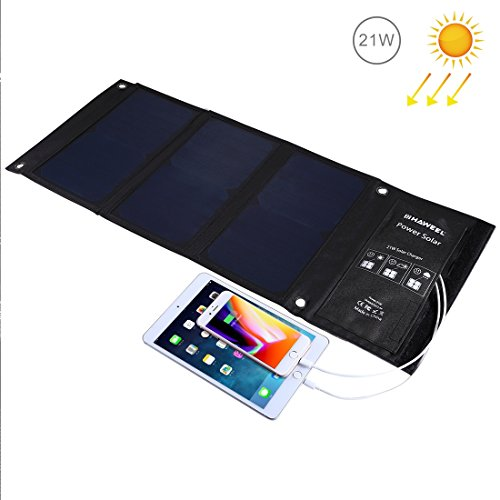 Cargador solar HAWEEL 21W Panel solar doble con puerto USB Impermeable Plegable para iPhone X, 8 y 8 Plus, iPad Pro Air 2 mini, Galaxy S8 S7 S6 Edge Plus, Note 5 4, LG, Nexus y más