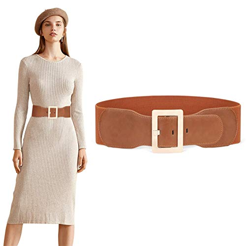 JASGOOD Women Dress Waist Belt Stretchy Elastic Vintage Belts for Dress with Metal Buckle 7.5cm,Brown,Fits Waist 31-35 Inches