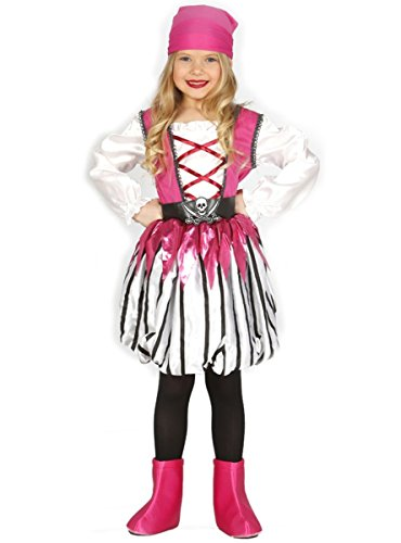 Traje de pirata para niña, rosa y blanco, (7-9 años)