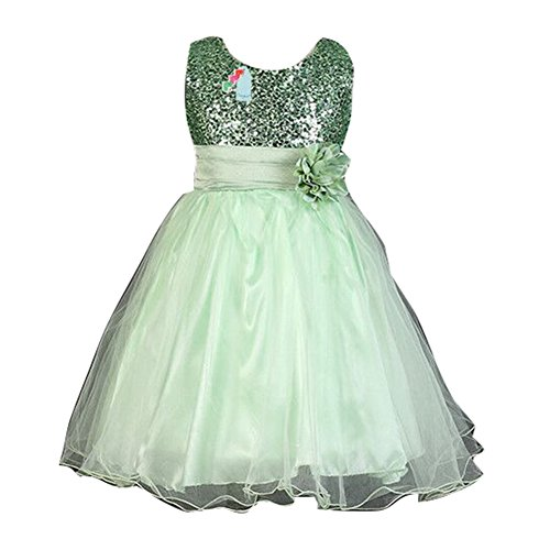 Summer Baby Girls Flower Sans manches Princess Pageant Robe pour anniversaire Wedding Party Green / 140cm / 5-6Y