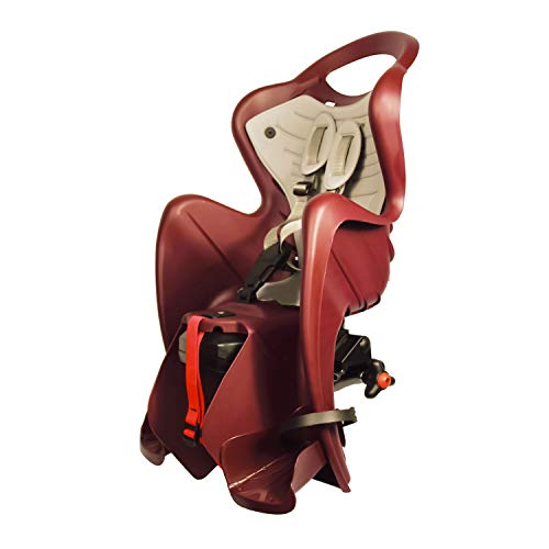 Mr Fox 2021 - Asiento Posterior Reclinable de bibicleta - cojín y Respaldo de Polipiel - para niños de hasta 22 kg, de 3 a 8 años - Se Fija al Portaequipaje - Rojo Ciruela